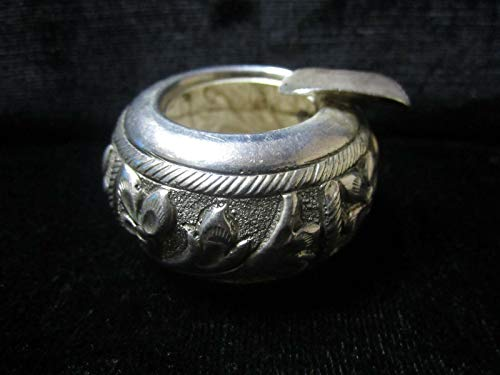 Rajasthan Gems Traditional Handmade Design, 92.5 Sterling Silver, Small Ash Tray, Floral Motif