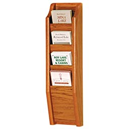 Wooden Mallet 4-Pocket Cascade Brochure Rack, Medium Oak
