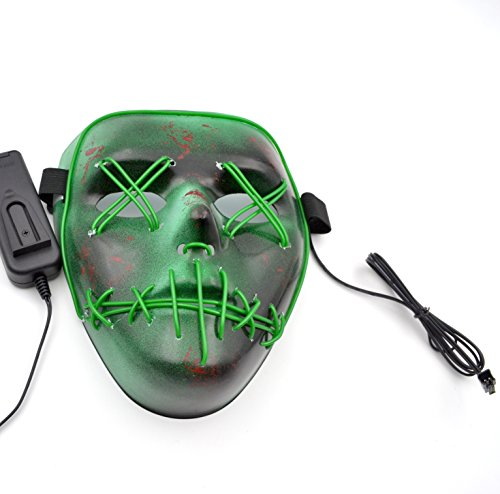 Stitched Up Glow in the Dark LED Light Mask - Great for a 2017 Halloween Costume