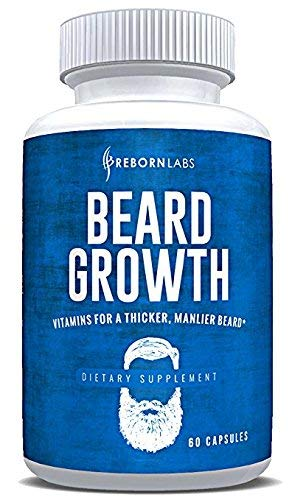 Beard Growth Supplement with Vitamins for a Fuller, Longer, Thicker Beard | Also Promotes Faster Facial Hair Growth | Natural Complex with Biotin for Healthy & Strong Hair | 60 Capsules