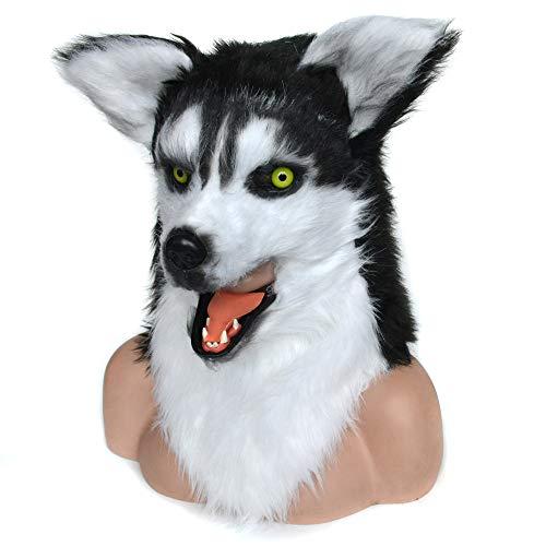 HOMCOM Realistic Husky Dog Costume Mouth Mover Halloween/Cosplay Mask