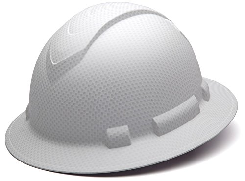 - Pyramex Ridgeline Full Brim Hard Hat, 4-Point Ratchet Suspension, Matte White Graphite Pattern