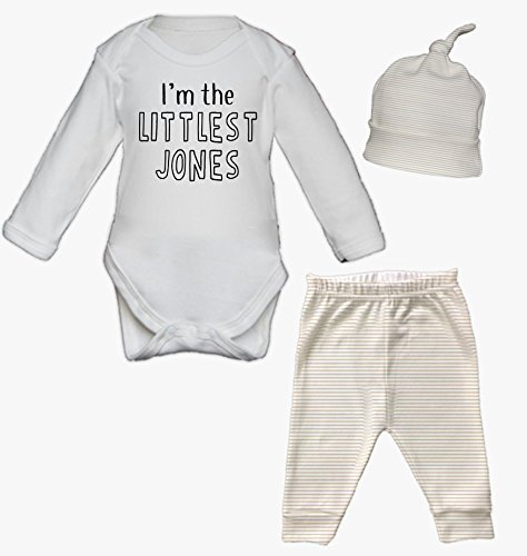 Littlest Surname Baby Vest Pants and Hat Set Babygrow New Baby Gifts Newborn baby Gifts Personalised Babywear Hospital Outfit Newborn