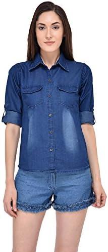 abaf1ef0e Mayra Women s Party Wear Denim Shirt (XM1705T11153 S Blue)  Amazon ...