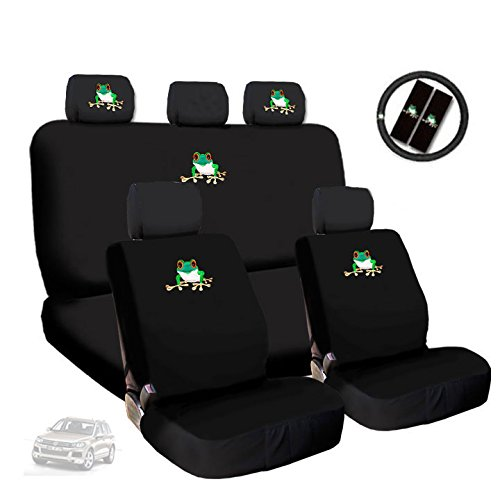 New Design Frog Embroidery Logo Car Seat Covers Headrest Steering Wheel Cover Gift Set