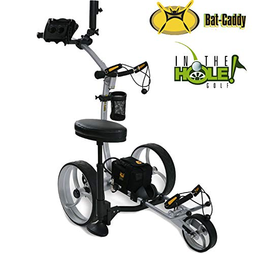 Bat Caddy X8R 2019 Electric Golf Trolley - Silver - 22Ah Lithium Battery - Ultimate Accessory Bundle - Mountain Slayer Anti-Tip Wheel - Exclusively from in The Hole Golf