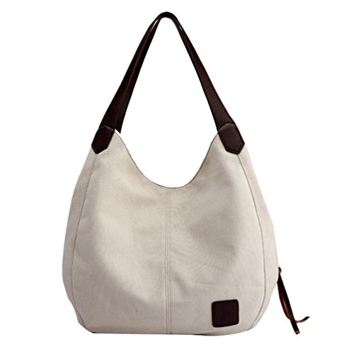 LINNUO Retro Mujer Bolso de Mano de Lona Bolso Bandolera con Compartimiento Moda Bolso Shopper Beige/Blanco