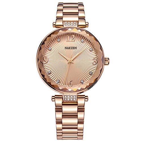 NAKZEN Women's Dress Watches Fashion Exquisite Luxury Ladies Gold Elegant Clock Unique Diamond Flower Stainless Steel Wrist Watch for Women (Rose Gold)
