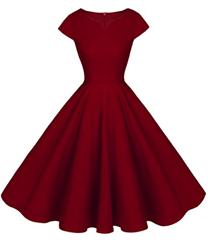 Prom FAIRY DRT019 Burgundy Vintage Sleeves Cap Rockabilly COUPLE Dress rXPq0r