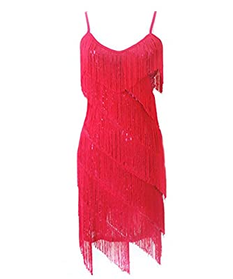 Ru Sweet Women's 1920s Sequin Fringe 1920s Flapper Gatsby Custome Party Dress