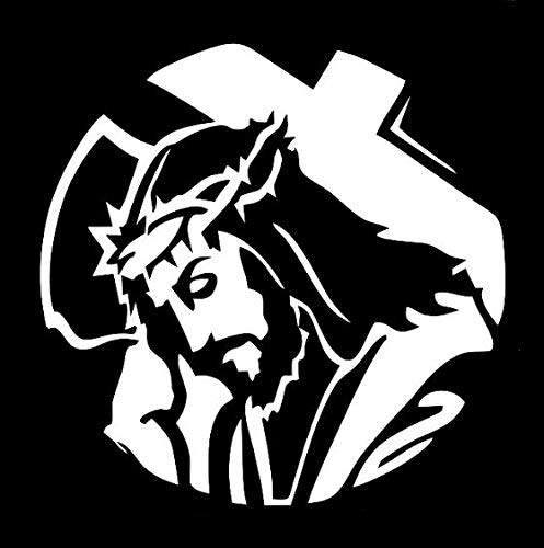 Makarios LLC Jesus Cross Religious Cars Trucks Vans Walls Laptop MKR| White |5.5 x 5.5|MKR769 (Religious Jerseys)