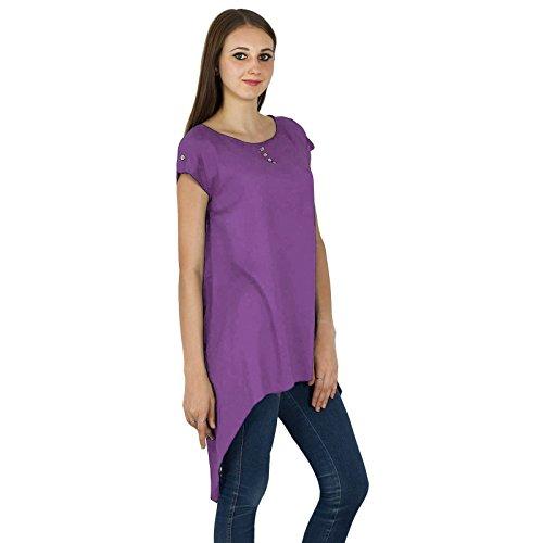 Boho Top Vestido de tirantes de manga corta sólido playa del verano mujeres del desgaste de la túnica ocasional Púrpura