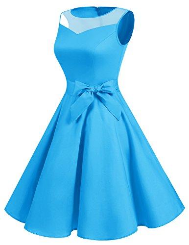 Sin Mujer Vintage Corto Dresstells Vestido Blue Fiesta Mangas reg; Retro 1950 Boda 0gwwCqWFxO