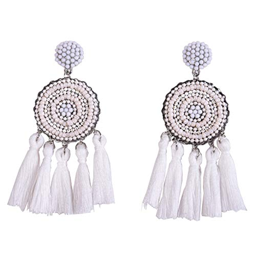 RIVERTREE Beaded Tassel Earrings for women - White Chandelier Seed Beads Statement Fringe Disc Top Dangle Drop Earring Boho