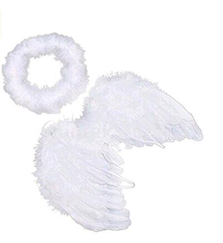 UNKE White Feather Angel Wings & Halo for Newborn 0-6 Months Babies ()
