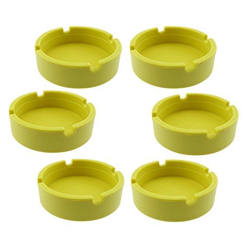 InnoLife - Eco-Friendly Colorfull Premium Silicone Rubber High Temperature Heat Resistant Round Design Ashtray (Yellow)