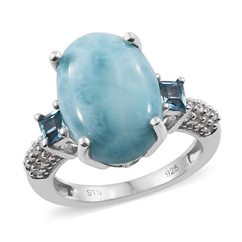 925 Sterling Silver Platinum Plated Larimar Blue Topaz Ring for Women Size 8