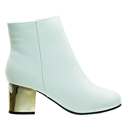 Block Lining Platform Chunky 19white Bootie Heel Bamboo Inner Fur w Faux x4w14