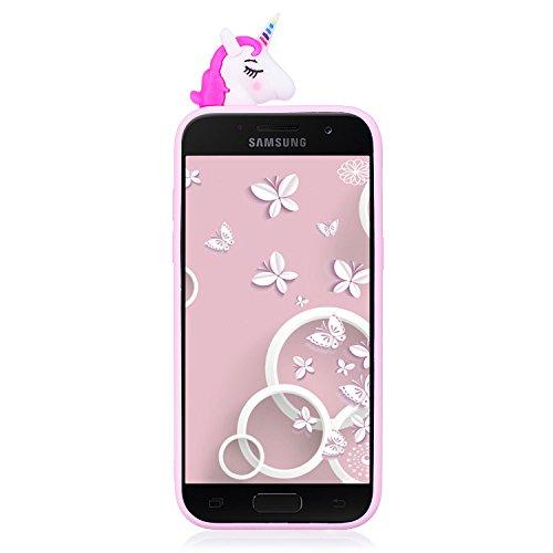 Funda para Samsung A7 2017, CaseLover 3D Panda Suave TPU Silicona Carcasa para Samsung Galaxy A7 2017 A720 Ultra Delgado Flexible Protectora Caso Mate Opaco Gel Goma Parachoques Tapa Anti Choque Trase Rosa Roja