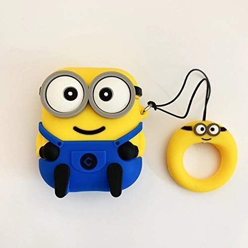 TKM Airpods/iPod Silicone Case Cover Cute Minions Silicone Protective Cases for Apple Airpods Earphone Accessories (3D M