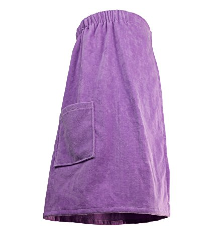 Goza Towels Women's Spa Bath Shower Terry Velour Cotton Wrap with Pocket (One Size, Lilac) ()