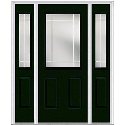 National Door Company Z005476R Steel, Hunter Green, Right Hand In-swing, Exterior Prehung Door, Internal Grilles 1/2 Lite 2-Panel, 36''x80 with 12'' Sidelites by National Door Company