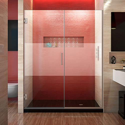 DreamLine Unidoor Plus 59 1/2-60 in. W x 72 in. H Frameless Hinged Shower Door, Frosted Band, Brushed Nickel, SHDR-245957210-HFR-04