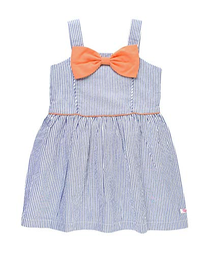 RuffleButts Baby/Toddler Girls Blue Seersucker Salmon Bow Fit and Flare Dress - 12-18m