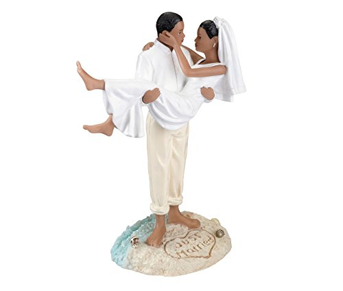 American Beach Figurine Wedding Cake Topper (African American Couple Cake Topper)