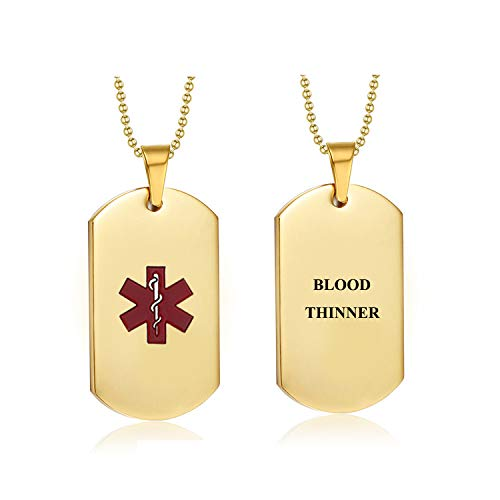 (Pre-Engraved Blood Thinner Stainless Steel Emergency Medical Alert ID Dog Tag Pendant Necklace for Men & Women (Gold-Blood Thinner))