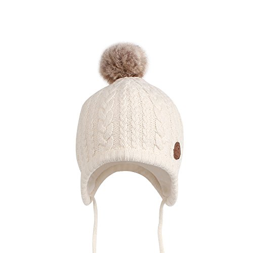 Cutegogo Christmas Crochet Baby Beanie Earflaps Little Girl Boy Knit Infant Hats Winter Warm Cap Lined Polyester Santa (White, M)
