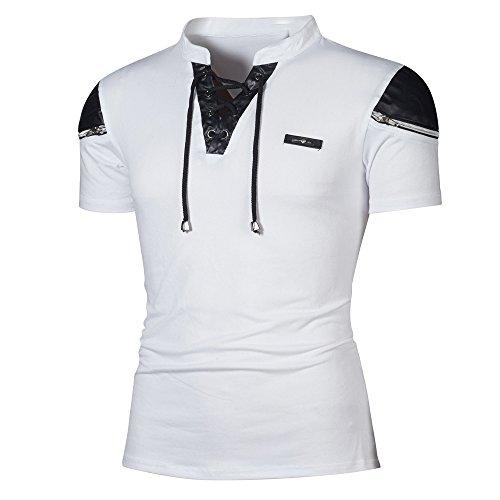 Beautyfine T Shirt Fashion Personality Men's Casual Slim Patchwork Short Sleeve Top Blouse ()