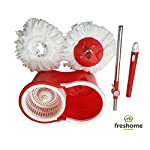 Freshome Magic Spin Mop with 1 Extra Microfiber Refill (Red)