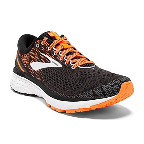 Brooks Mens Ghost 11 Running Shoe - Black/Silver/Orange - D - 11.5
