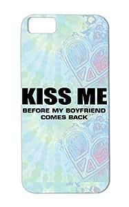 Kiss Me TPU Black Protective Case For Iphone 5c Art Writing Girl Funny Kiss Miscellaneous Woman Design Boyfriend