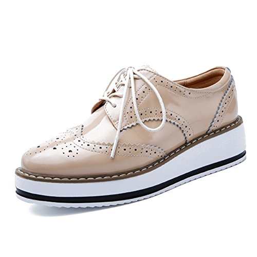 (YING LAN Women's Platform Lace-Up Wingtips Square Toe Oxfords Shoe Apricot)