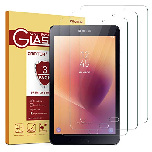 OMOTON[3 Pack] Screen Protector for Tab A 8.0 2017(SM-T380), Tempered Glass/High Definition/Bubble Free Screen Protector for Samsung Galaxry Tab A 8.0 inch 2017 Released (Galaxy 8 Protector Tablet Screen)