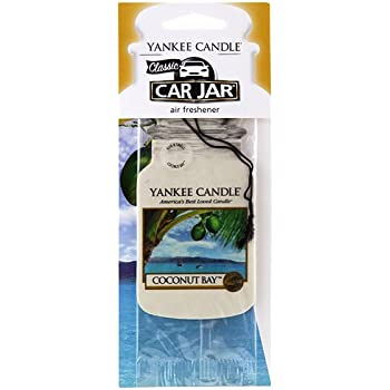 Yankee Candle Classic Paper Car Jar Hanging Odor Neutralizing Air Freshener, Coconut Bay Scent