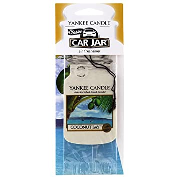 Yankee Candle Car Jar Classic Cardboard Car,Home and Office Hanging Air Freshener, Coconut Bay Scent (Pack of 10)