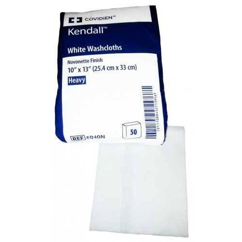Covidien 6040N Kendall Washcloth, Novonette Finish, 10'' x 13'' Size, White (Pack of 50) by COVIDIEN (Image #1)