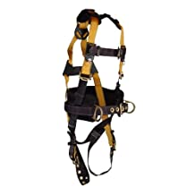 FallTech 7035S Journeyman Full Body Polyester Harness with 3 D-Rings and Tongue Buckle Leg Straps with Belt, Small