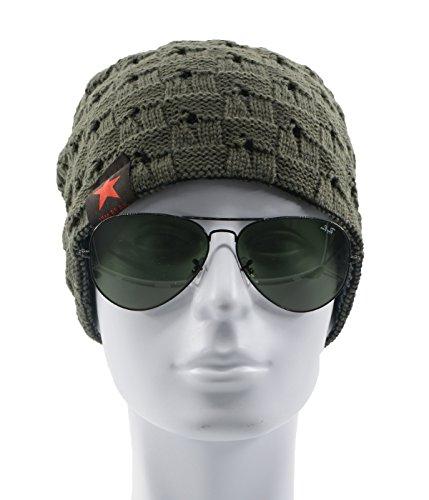 Century Star Warm Hat Mens Winter Fashion Knit Slouchy Outdoor Beanie Lightweight Skull Cap Dark (Knit Skull Cap Pattern)