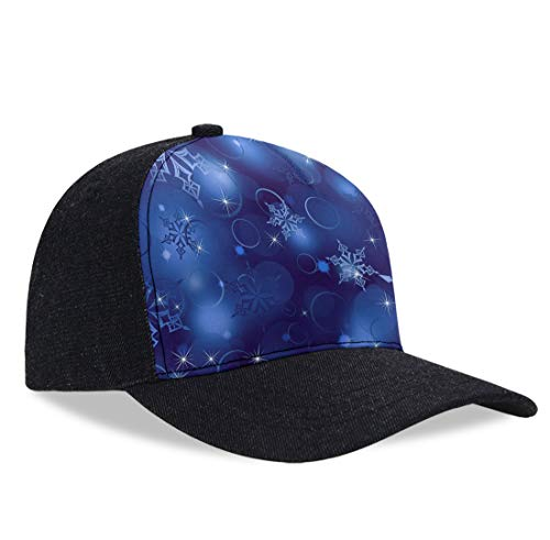 - Structured Classic Plain Baseball Cap Unisex Hat Adjustable Plastic Buckle Max Comfort (Christmas Snowflakes)