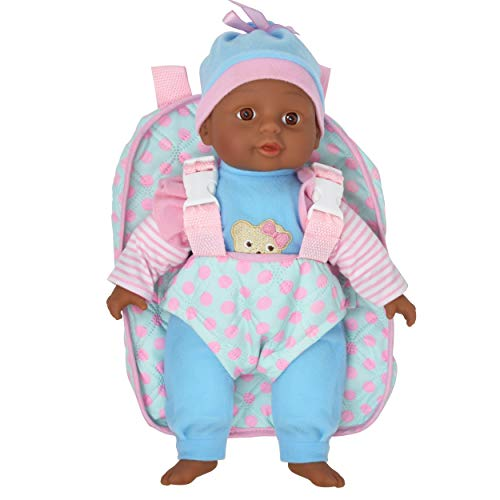 Soft Baby Doll With Take Along Blue and Pink Doll Backpack Carrier, Briefcase Pocket Fits Doll Accessories and Clothing African American 13 Inch