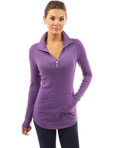 PattyBoutik Women Zip Pocket Tunic (Heather Dark Orchid Medium)