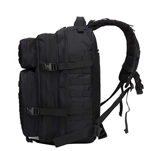 ninRYA Military Tactical Backpack Large 3 Day Assault Pack Molle Bug Water Resistant Bag for Travel,Camping,Hunting,Trekking and Hiking (Black)