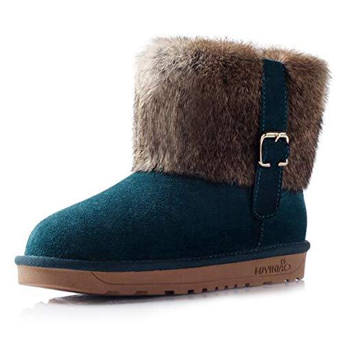 Warm Para El Cuero Plus Botas Invierno Casual Mujer Flat Nieve Slip Thicken Velvet blue Cortas Heel 38 De X6xH0
