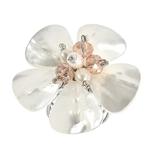 (AeraVida White Mother of Pearl & Cultured Freshwater Pink Pearl Sweet Daisy Adjustable Ring)
