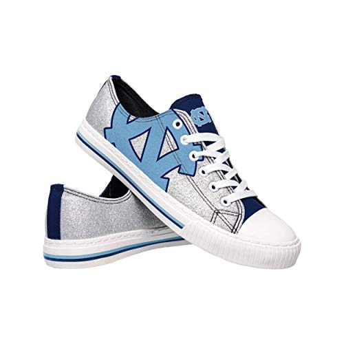 FOCO NCAA North Carolina Tar Heels Womens Glitter Low Top Canvas ShoesGlitter Low Top Canvas Shoes, Team Color, - Heels Fan Carolina Tar North