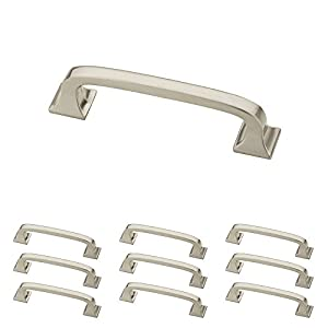"""Franklin Brass P29521K-SN-B Pull with Square Feet, 3"""" (76mm), Brushed Nickel, 10 Piece"""